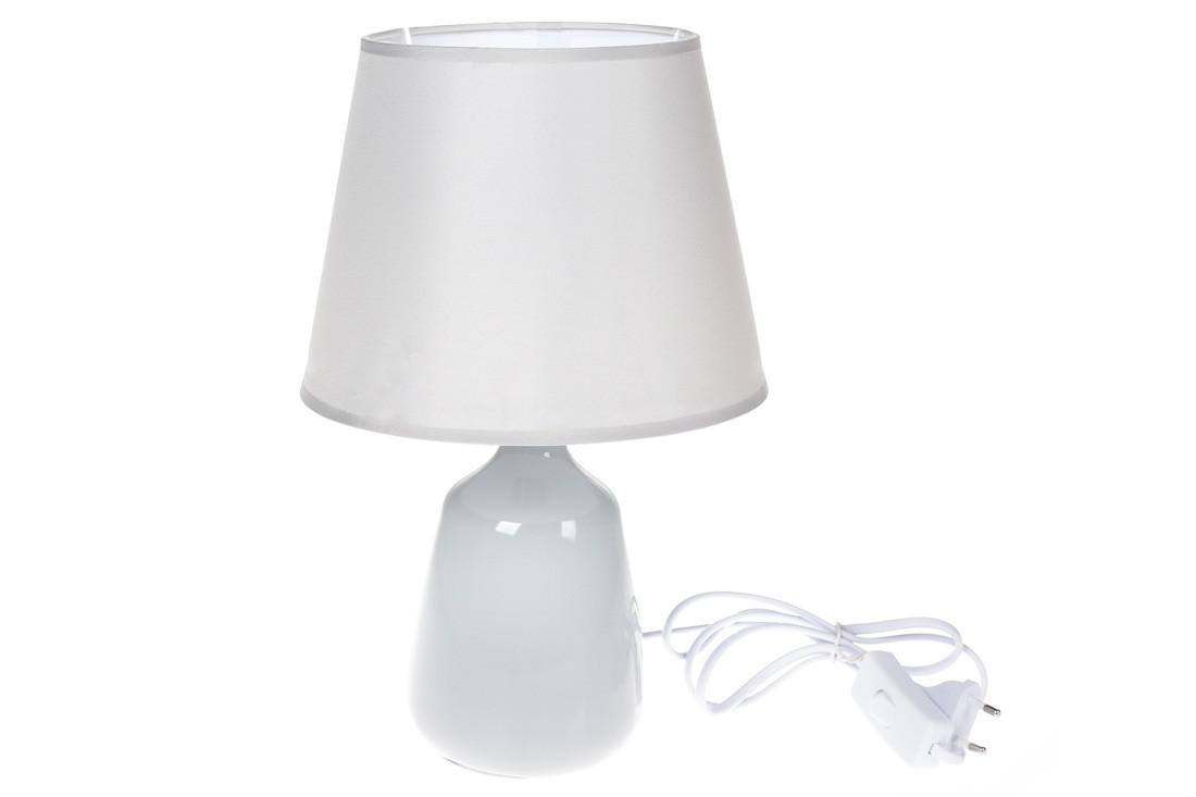 Лампа настольная с керамическим основанием и тканевым абажуром, цвет - французский серый (244-108)
