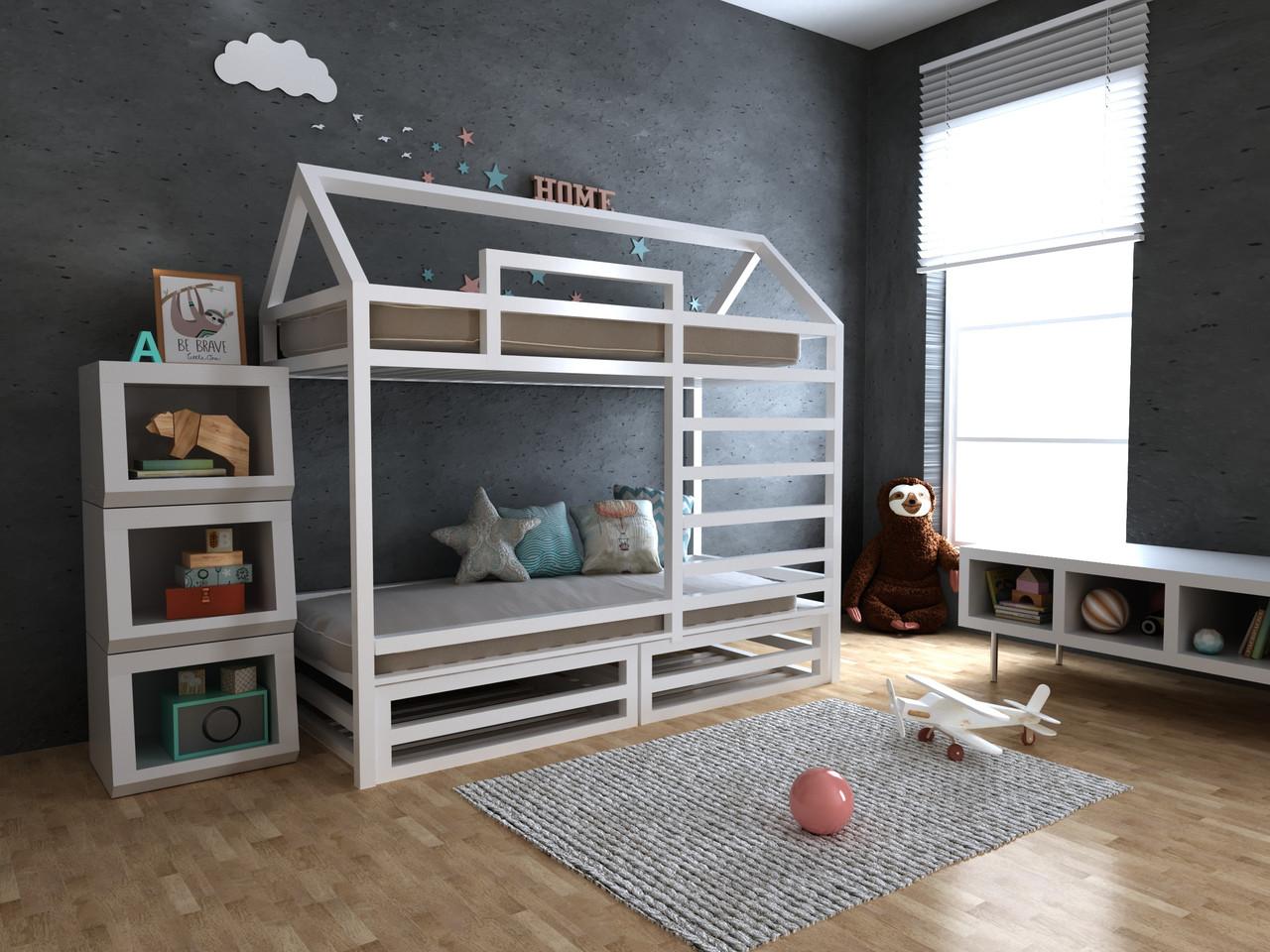 ✅Детская Деревянная двухъярусная кровать домик Джули с ящиками 70х140 см ТМ MegaOpt