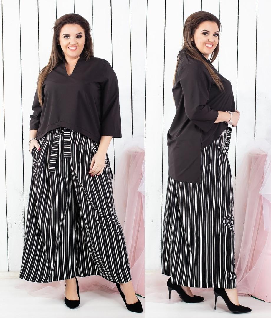 7bc79d46f945 Стильный женский брючный костюм брюки-кюлоты с завышенной талией и  асимеричная блуза 46-48, 50-52, 54-56,58-60