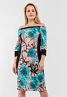 Женское платье с цветочным принтом и однотонными вставками Modniy Oazis бежевый 90345/2, фото 1