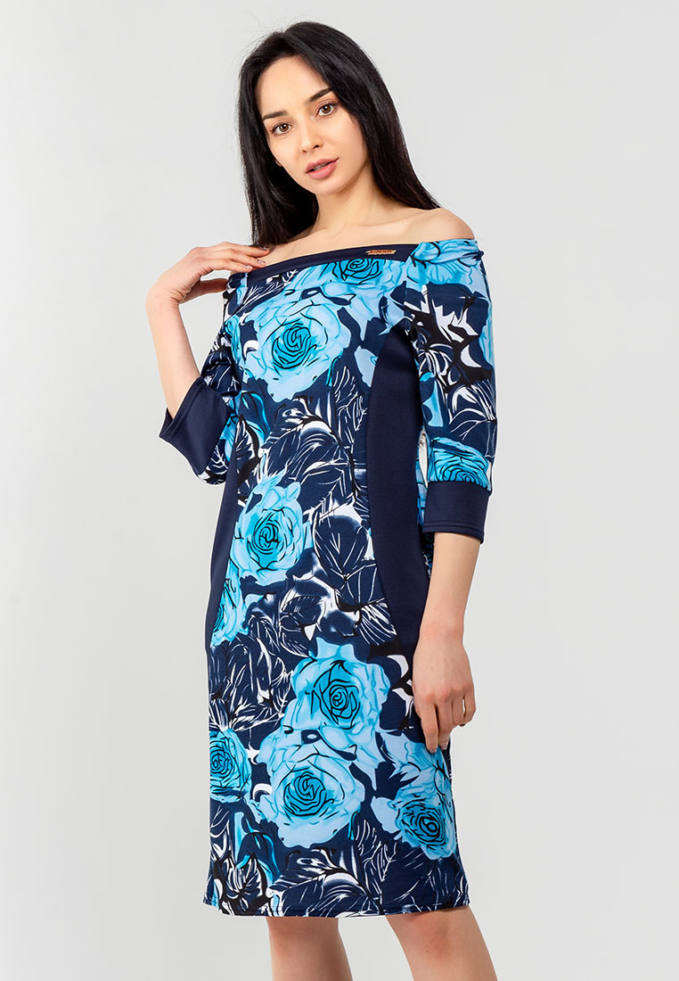 Женское платье с цветочным принтом и однотонными вставками Modniy Oazis голубой 90345/1, фото 1