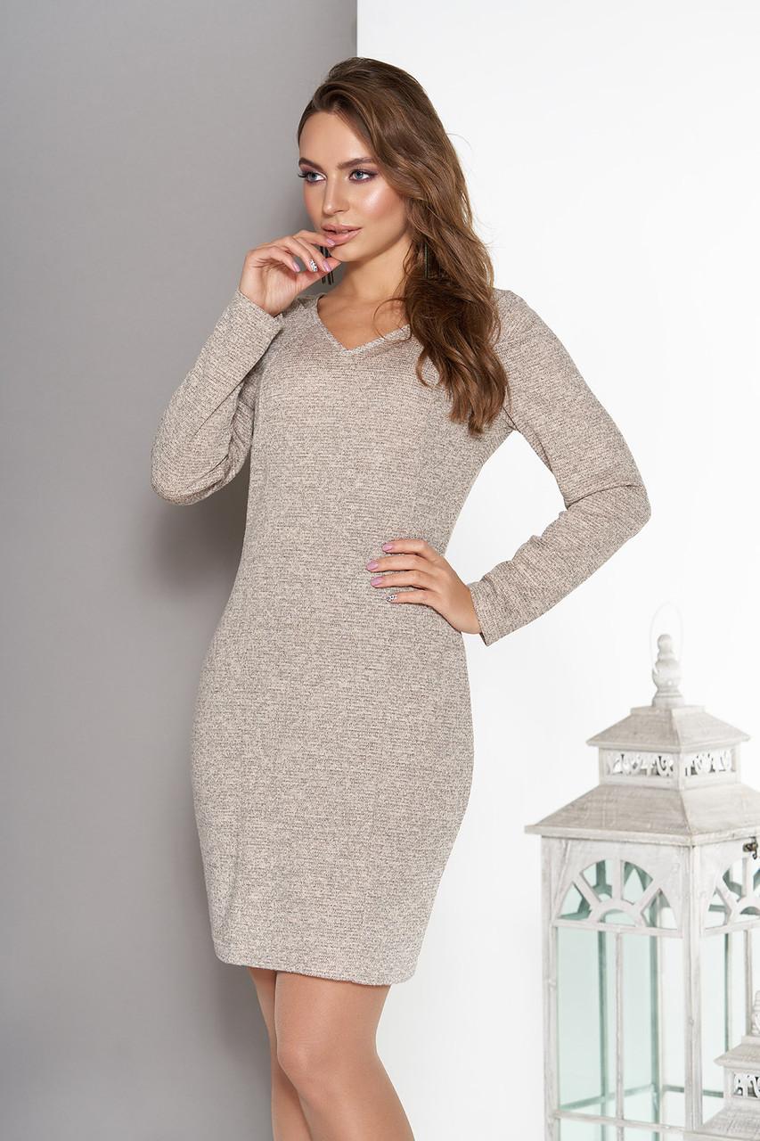 e0f8fc5cbb5 Трикотажное Женское Бежевое Платье с V-образным Вырезом Горловины