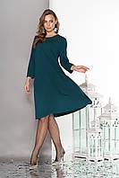 """Летящее свободное женское платье""""Венеция"""" с отделкой термо-стразами и бусинами-заклепками до колен (зеленый)"""
