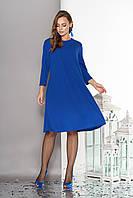 """Летящее свободное женское платье""""Венеция"""" с отделкой термо-стразами и бусинами-заклепками до колен (электрик)"""