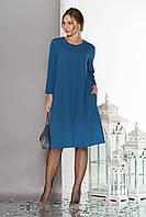 """Летящее свободное женское платье""""Венеция"""" с отделкой термо-стразами и бусинами-заклепками до  (морская волна)"""