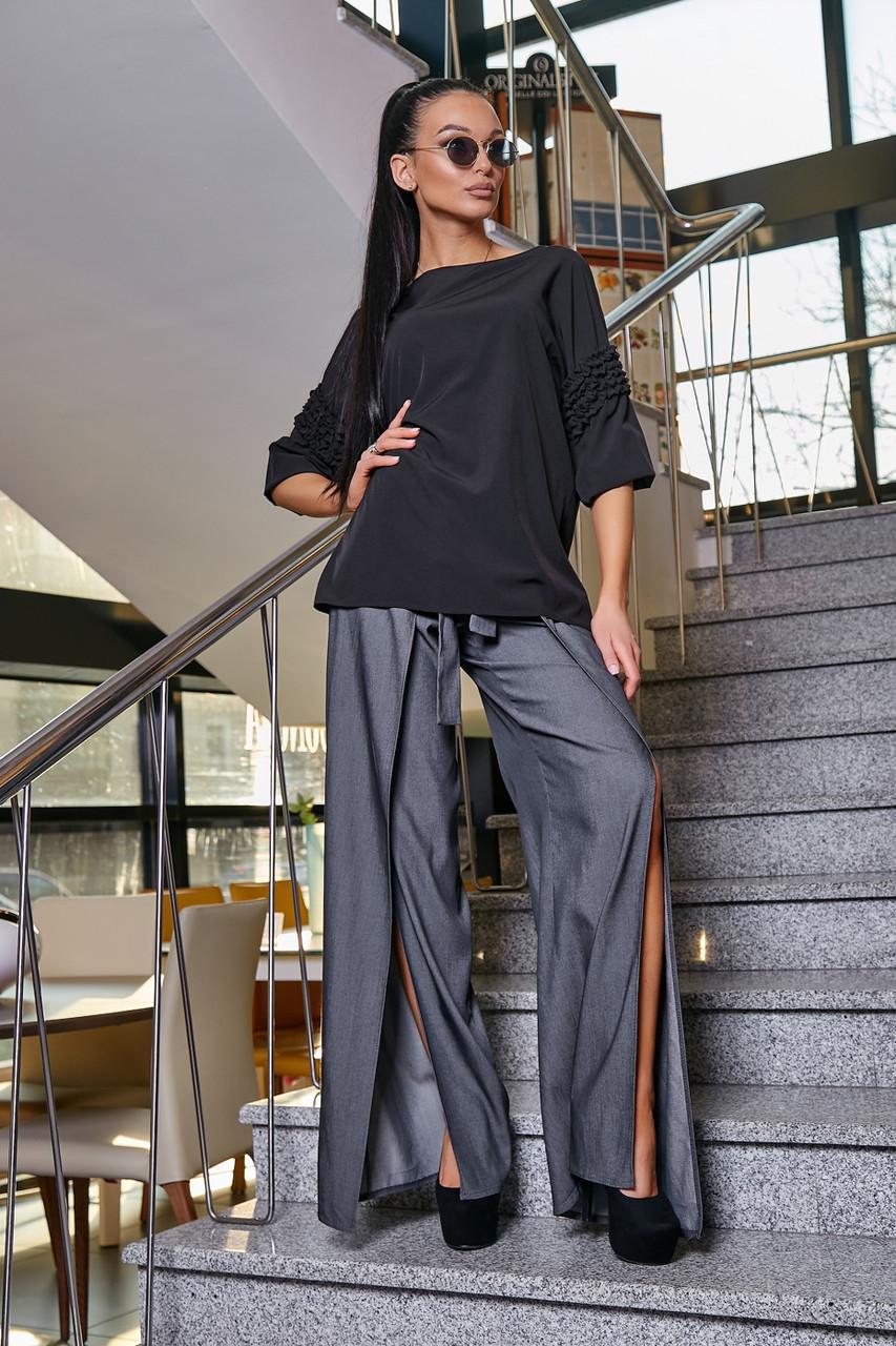 Женская элегантная чёрная блузка размеры от 42 до 48, классическая, офисная, праздничная, гламурная