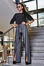 Женская элегантная чёрная блузка размеры от 42 до 48, классическая, офисная, праздничная, гламурная, фото 2