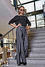 Женская элегантная чёрная блузка размеры от 42 до 48, классическая, офисная, праздничная, гламурная, фото 5