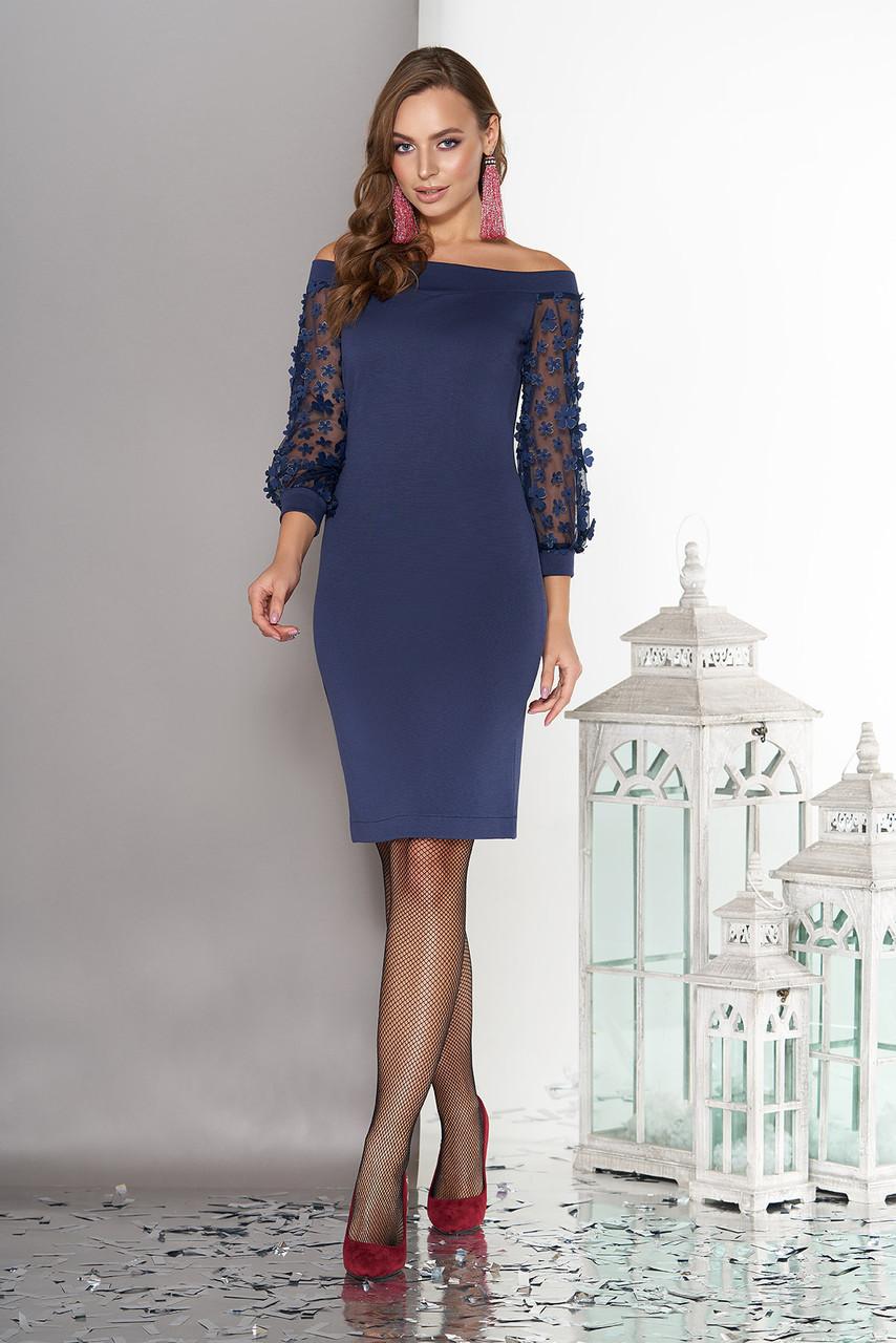 """Трикотажне плаття """"Флоріс"""" з вирізом горловини """"анжеліка""""(темно синій)"""