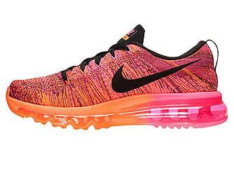 Женские кроссовки Nike Flyknit Max 2016 Orange Pink Fireberry Black (Реплика ААА+)
