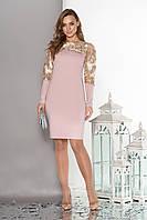 """Женское платье""""S-53""""с кокеткой и рукавамииз эластичной сетки с вышивкой  (розовый)"""