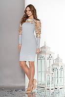 """Женское платье""""S-53""""с кокеткой и рукавамииз эластичной сетки с вышивкой  (бирюзовый)"""