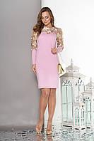 """Женское платье""""S-53""""с кокеткой и рукавамииз эластичной сетки с вышивкой (сиреневый)"""