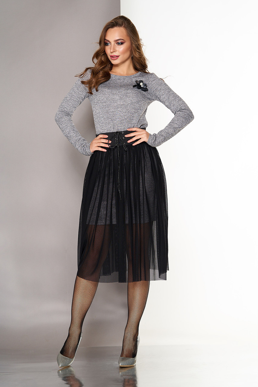 78c75e27ca4 Красивое трикотажное платье двойка по фигуре с люрексом и съемной пышной  юбкой из сетки