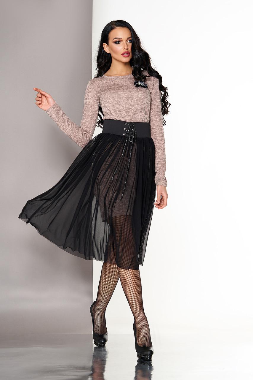 """Нарядное платье двойка по фигуре со съемной юбкой из сетки """"Энжи"""" пудра"""