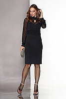 """Черное нарядное платье-футляр по колено со вставкой и рукавами из сетки в горох """"А-127"""" черное"""