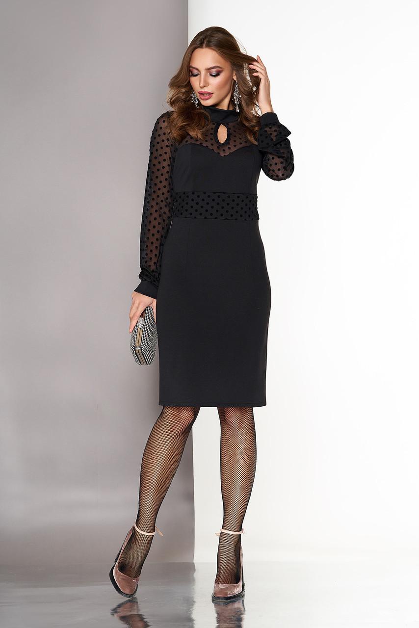 4f596cad275 Черное нарядное платье-футляр по колено со вставкой и рукавами из сетки в  горох