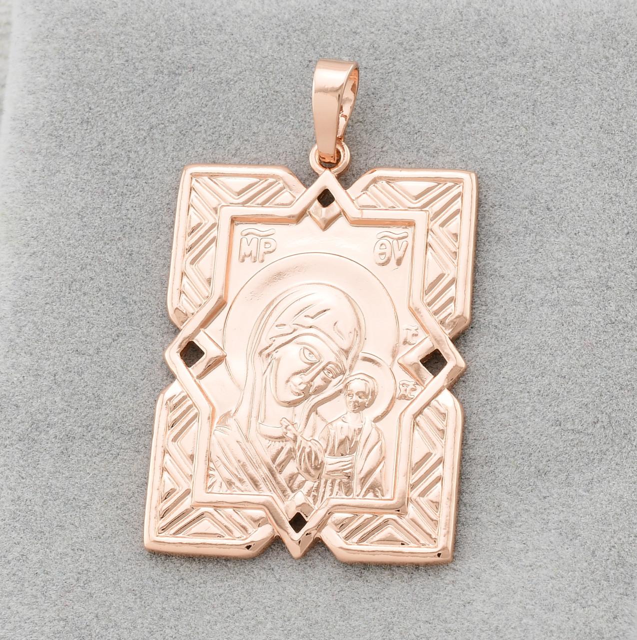 Иконка Казанская Божья Матерь 70310-РО, размер 36*20 мм, вес 4.8 г, позолота РО