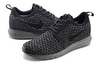 Мужские кроссовки Nike Roshe Run Flyknit черные