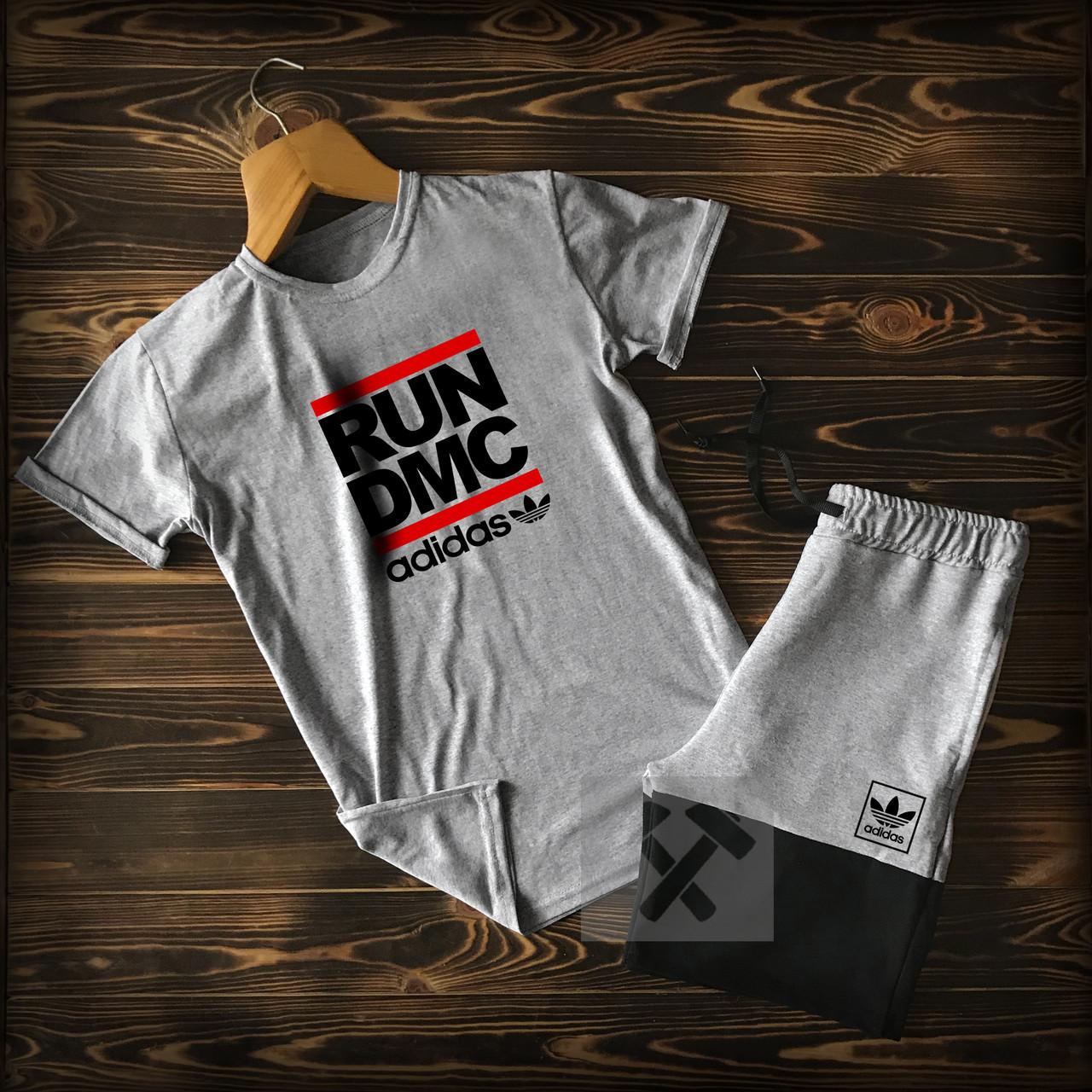 Летний мужской спортивный костюм Adidas (Адидас) шорты и футболка серого цвета