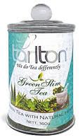 Чай зеленый листовой Тарлтон Green Slim Tea с кусочками яблок, корицей, имбирём 160 г в стеклянной банке