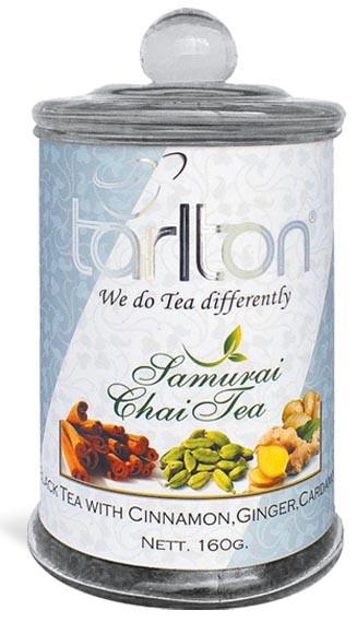 Чай черный листовой Тарлтон Samurai Chai Tea с корицей, гвоздикой, кардамоном 160 г в стеклянной банке