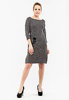 Модное женское платье свободного кроя с розой на кармане, рукав три четверти Modniy Oazis серый 90341, фото 1