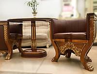 """Комплект элитной мягкой мебели, два кресла и стол """"Тет-а-Тет"""" в коже, в кабинет (В НАЛИЧИИ)"""