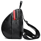 Рюкзак женский PU чёрный кожзам в форме Капля с красочно оформленным замком, фото 2