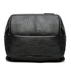 Рюкзак женский PU чёрный кожзам в форме Капля с красочно оформленным замком, фото 4