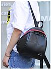 Рюкзак женский PU чёрный кожзам в форме Капля с красочно оформленным замком, фото 9