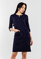 Стильное замшевое платье с рукавами 3/4 и накладными карманами Modniy Oazis синий 90343, фото 1