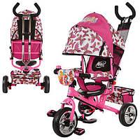 Детский трёхколёсный велосипед WX 0102 Винкс розовый Profi Trike EVA Foam