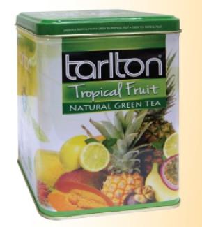 Чай зеленый крупнолистовой Тарлтон Tropical Fruit OPA с ароматом и кусочкам тропических фруктов 250 г ж/б