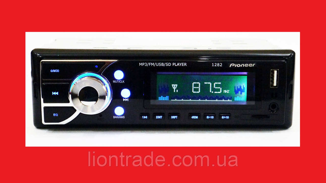 Автомагнитола Pioneer 1282 ISO - MP3+FM+USB+microSD-карта!