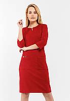 Стильное замшевое платье с рукавами 3/4 и накладными карманами Modniy Oazis красный 90343/1, фото 1