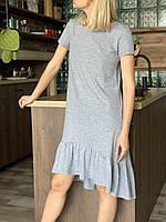 Женское  платье с коротким  рукавом из хлопкового трикотажа для отдыха