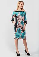 Жіноче плаття з квітковим принтом і однотонними вставками Modniy Oazis бежевий 90345/2, фото 1