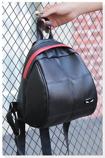 Рюкзачок женский чёрный кожзам в форме Капля с красочным оформлением замка