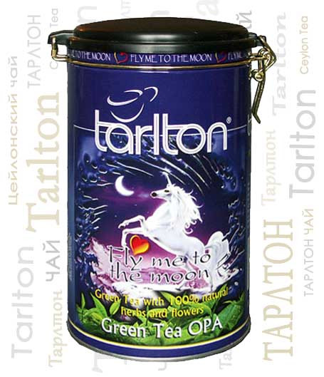 Чай зеленый листовой Тарлтон Fly to the Moon c ароматом лотоса, лепестками роз и бутонами жасмина 300 г ж/б