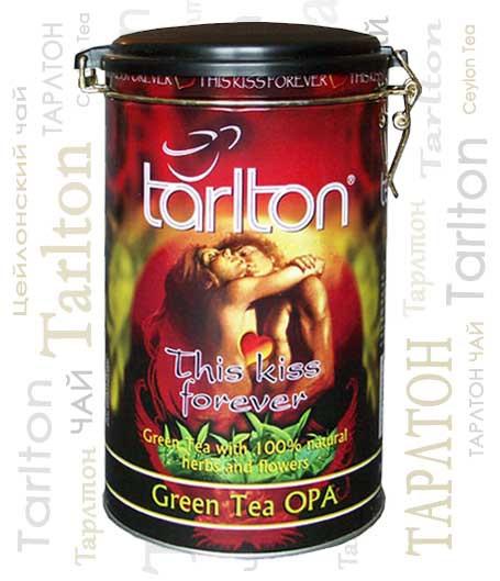 Чай зеленый листовой Тарлтон This Kiss Forever с ароматом саусепа 300 г ж/б
