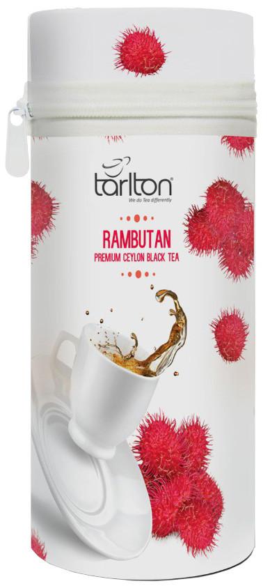 Чай чорний листовий Тарлтон Rambutan з шматочками ананаса і ароматом рамбутана 75 г ж/б з замком-блискавкою