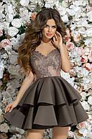 Вечернее женское платье с пышной юбкой-воланы, фото 1