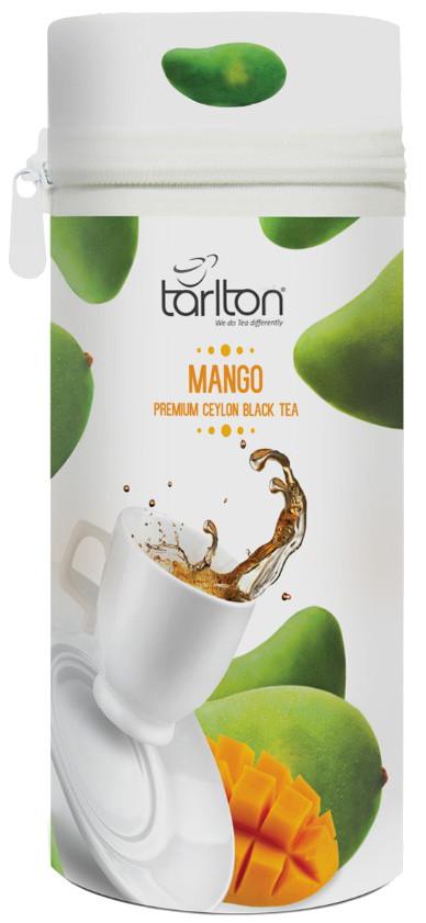 Чай черный листовой Тарлтон Mango с кусочками и ароматом манго 75 г ж/б с замком-молнией