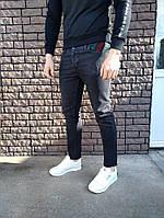 Джинсы - в стиле Gucci (Чёрные), фото 1