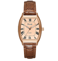 Стильные женские наручные часы с коричневым ремешком код 366
