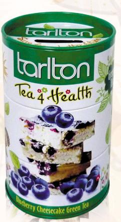 Чай зеленый крупнолистовой Тарлтон Tea4Health с ароматом черники и жасмина 100 г ж/б