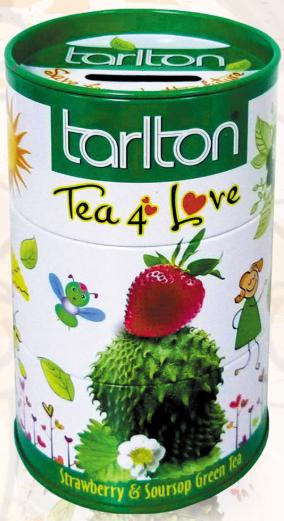 Зеленый чай с саусепом и клубникой Тарлтон Любовь крупнолистовой цейлонский 100 г в жестяной банке