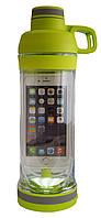 Бутылка для воды, цвет - зеленый, с отсеком для телефона, спортивная бутылка для воды, бутылочка для воды