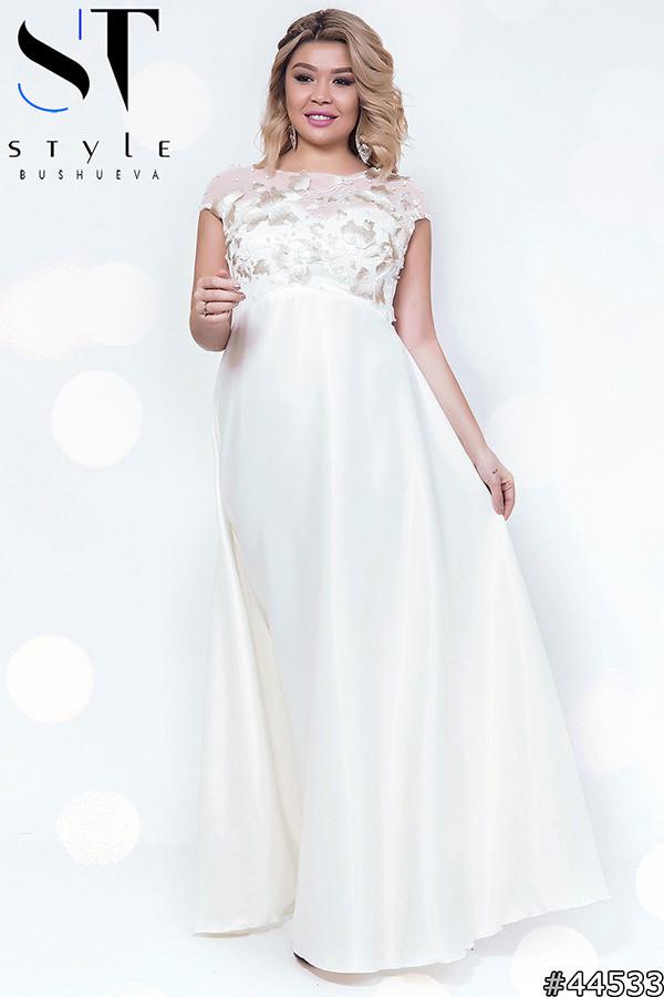 Вечернее платье из атласа и гипюра (р.48-52)
